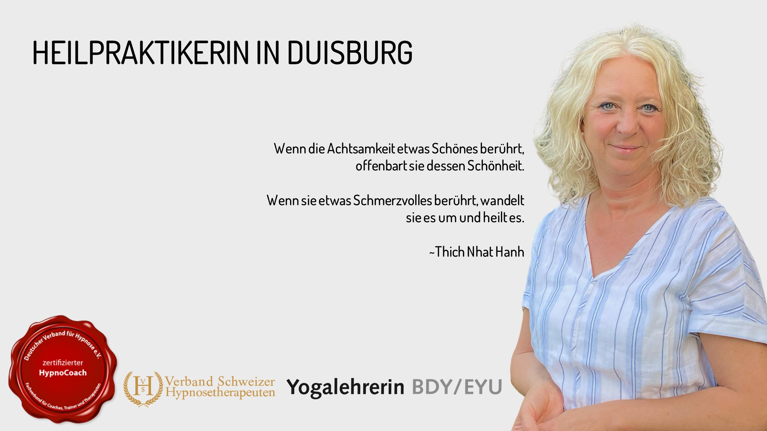 Heilpraktikerin in Duisburg. Deutscher Verband für Hypnose. Verband Schweizer Hypnosetherapeuten. Yogalehrerin. Anja Schütz